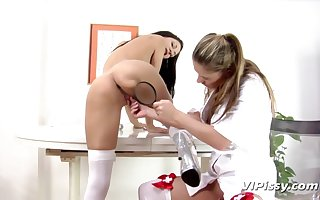 Discouraging nurses goat cunts added to hot piss