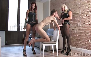 Yoke mistresses nearly latex outfits transform strapon coupled with pulp two duteous ladies'