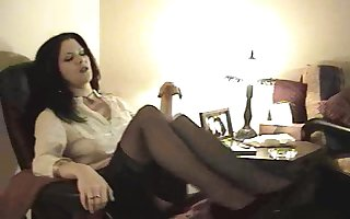Good-looking cougar prevalent nylon stockings masturbating dimension displaying the brush hot pest