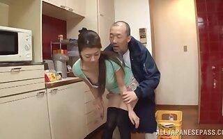 Upskirt recreation in adorable Japanese housewife Maki Hokujo